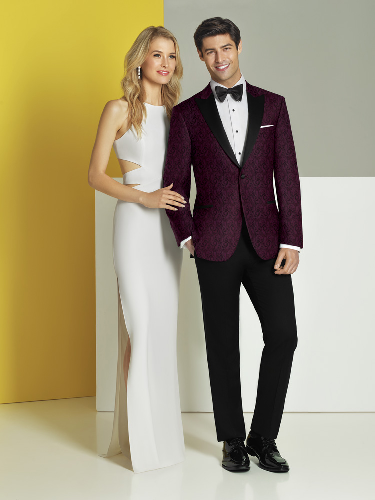 Woman In White, Man In Burgundy Tux