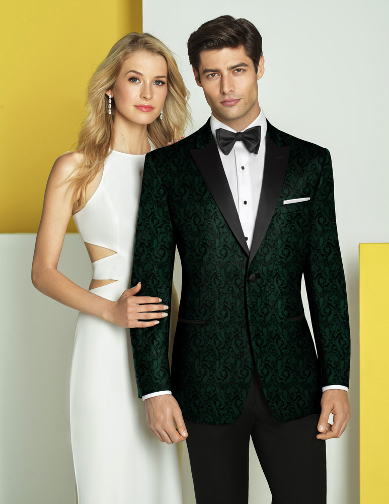 Woman In White Man In Green Tux