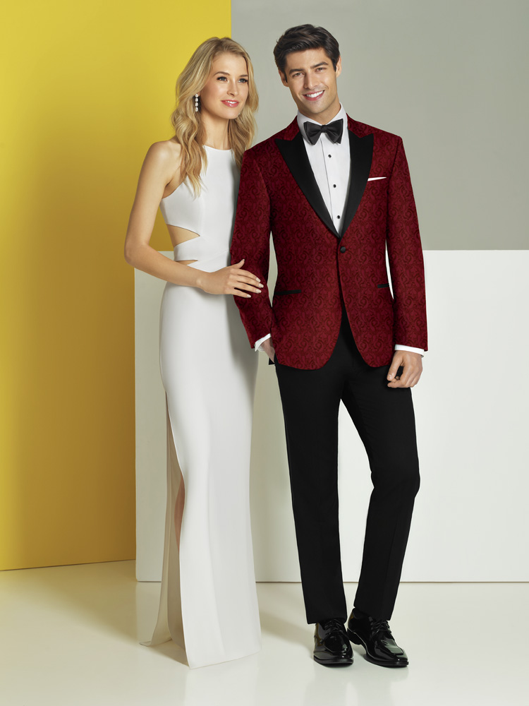 Woman in White, Man In Red Tux